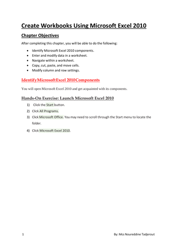 Create Workbooks Using Microsoft Excel 2010