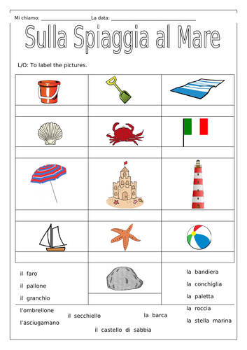 ITALIAN - On the Beach at the Sea - Sulla  spiaggia al Mare - Worksheets