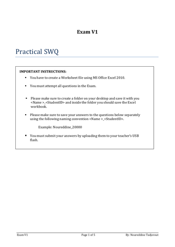 Y11 Practical Exam Excel 2010 with answer