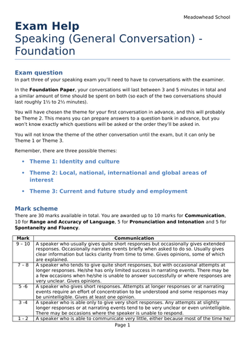 AQA GCSE German Exam Help Sheet for the Speaking Exam - General Conversation - Foundation