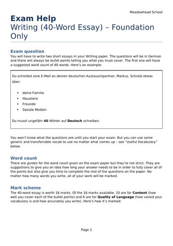 AQA GCSE German Exam Help Sheet for the Writing Exam - 40-Word Essay (Foundation Only)
