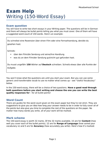 AQA GCSE German Exam Help Sheet for the Writing Exam - 150-Word Essay (Higher Only)