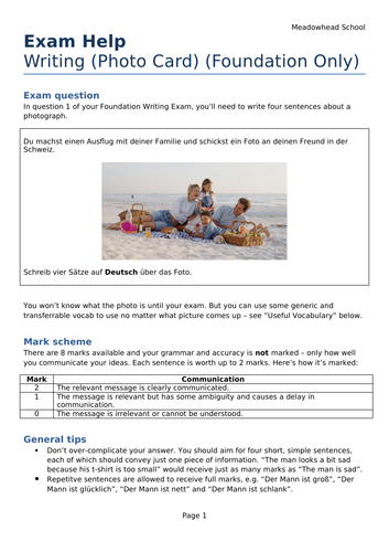 AQA GCSE German Exam Help Sheet for the Writing Exam - Photo Card Description (Foundation Only)