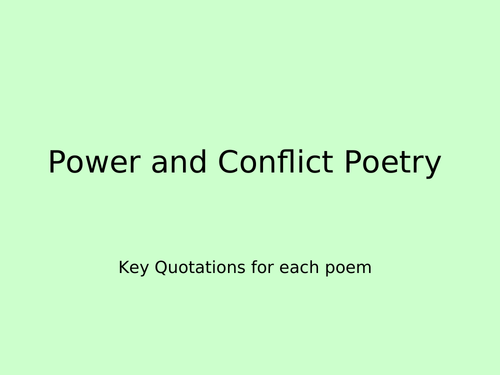 Power and Conflict Poetry Revision