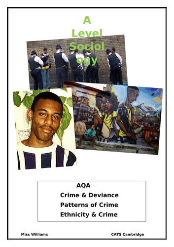 Ethnicity and crime booklet A level Sociology