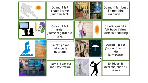 J'aime faire ca/Talking about what you like to do during different types of weather year 7 studio
