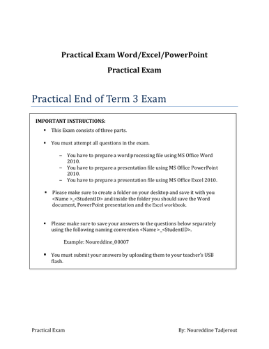 Y11 Practical Exam with answer for Word/Excel and PowerPoint 2010