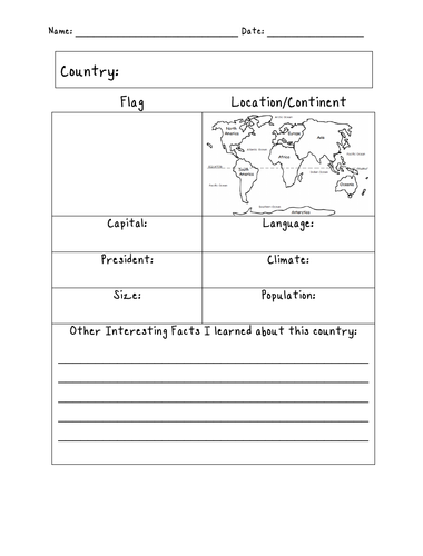 COUNTRY FACT SHEET - BLANK