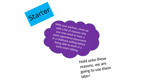 CACHE childcare how to prepare for placement