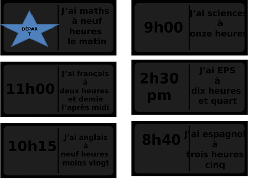 domino game: the time and lessons in French