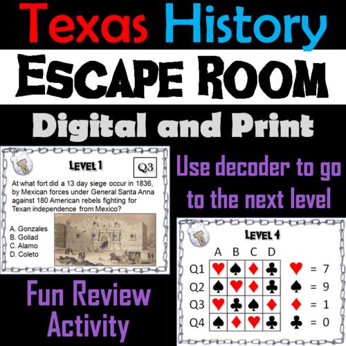 Texas History Activity: Escape Room Social Studies