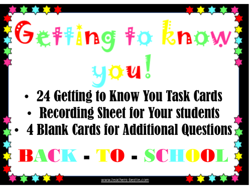 Getting to Know you task Cards: Ideal Back-to-School Ice Breaker!
