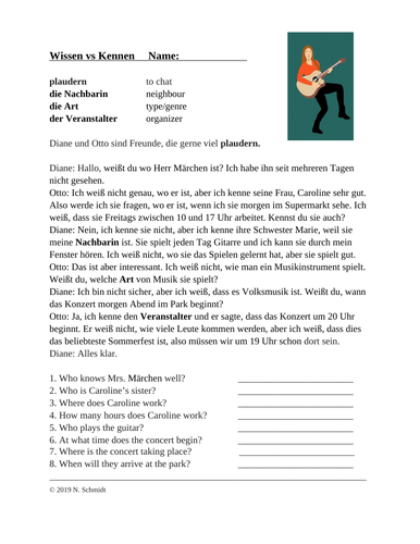 Wissen vs Kennen Deutsch Lesung: German Reading + Worksheet