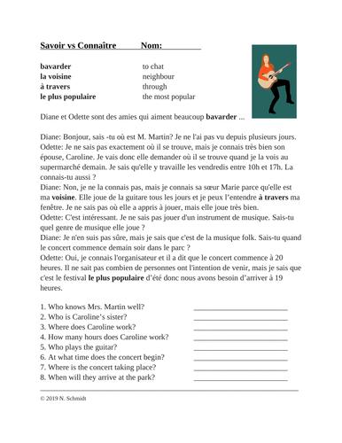 Savoir vs Connaître French Reading + Worksheet: Lecture en Français