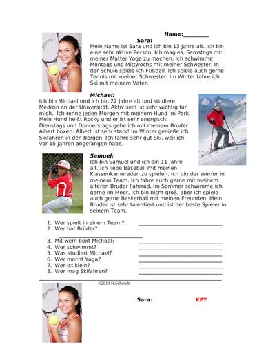 Mein Lieblingssport Lesung: My Favorite Sports German Beginner Reading