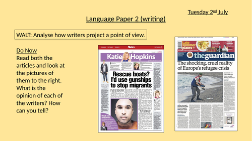 Discursive writing (series of 3-4 lessons) for KS4 GCSE Language Paper 1