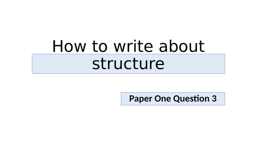 A lesson on how to tackle Q3 on AQA English Language Paper 1 GCSE.