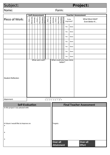 KS3 and KS4 Assessment Sheet