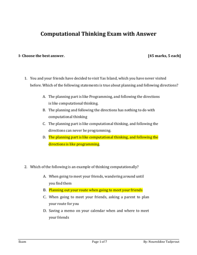 Computational Thinking Exam V2 with Answer Y7 and 8