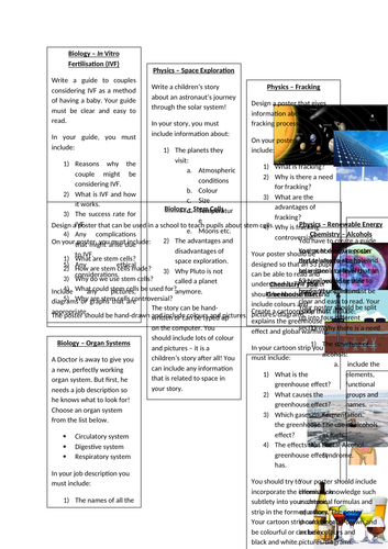 Science Research Tasks - Biology, Chemistry and Physics