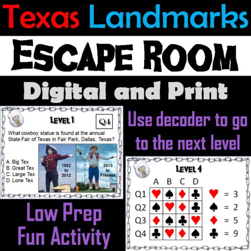 Famous Texas Landmarks: Social Studies Escape Room Geography