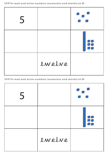 Number words and pictorial representation grid