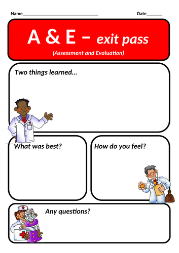 Exit pass - A and E - Assessment and evaluation