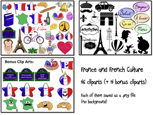 France- French Culture- Cliparts- for Personal or Commercial Use