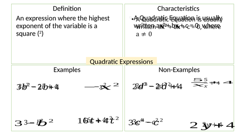 Quadratic Expressions Frayer Model of Examples and Non examples