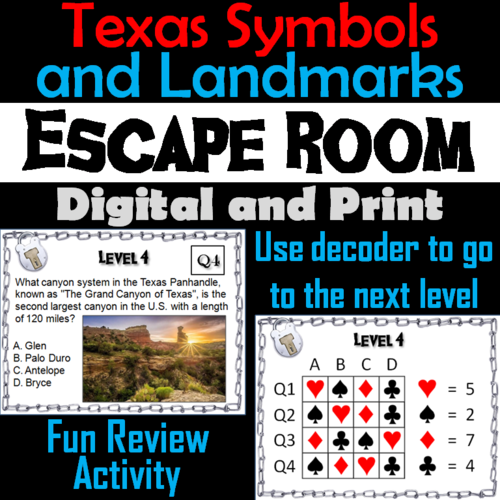 Texas Symbols and Landmarks: Escape Room Social Studies