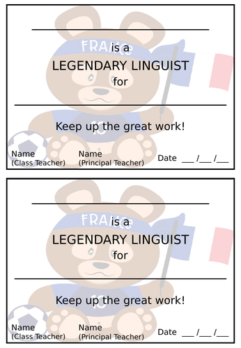 MFL Certificate - France Football Bear design