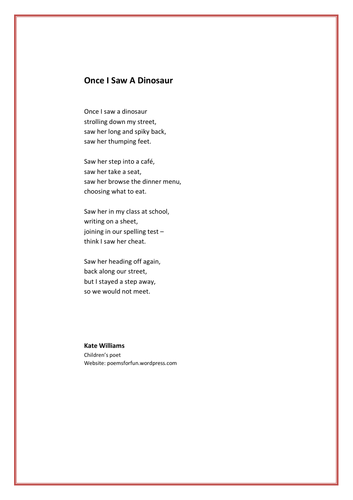 Dinosaur poem - 'Once I saw a Dinosaur'