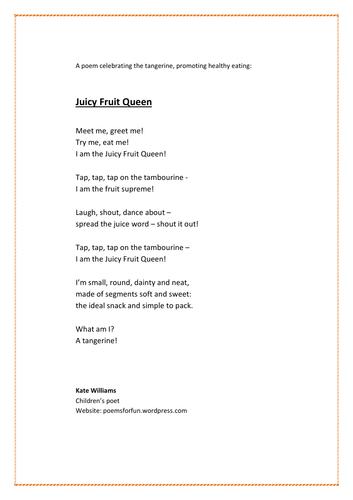 Healthy eating poem - tangerines