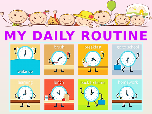 Daily routine and time.  Power point game.