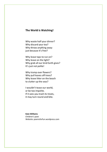 Eco-friendly poem - 'The World is Watching!'