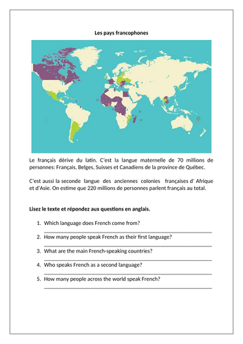 La francophonie / French-speaking countries