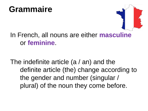 Genders of nouns (Definite and Indefinite Articles) in French