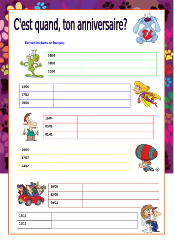Early years French resources: days, dates, months, seasons