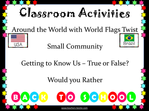 Activities for the whole class; Ideal for back to school, Ice breakers and Team building