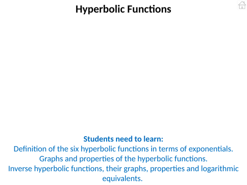 Further Pure Mathematics 3 (Hyperbolic Functions) PowerPoint