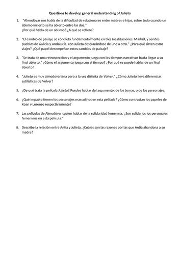 Julieta Almodóvar study questions to develop understanding