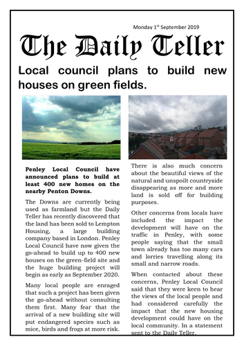 Year 5/6 Newspaper Article Reading Comprehension - New Housing Development (fic in non-fic style)