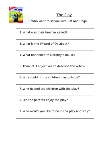 Stage 4 Oxford Reading Tree Comprehension Activities