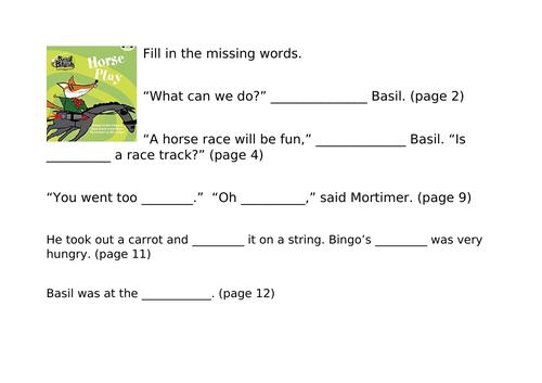 Bug Club Blue Comprehension Activities