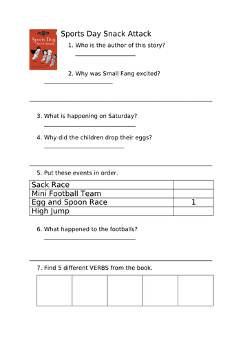 Bug Club Gold - Sports Day Snack Attack Comprehension