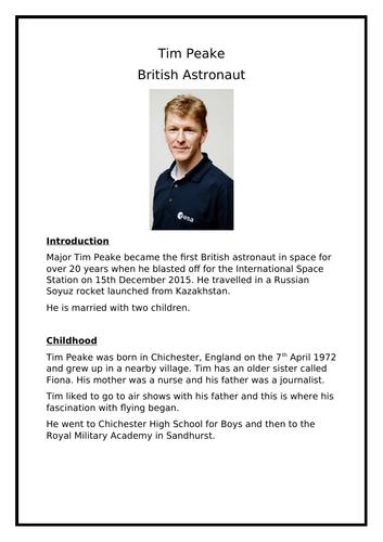 Year 2 / KS1 SATs Reading Comprehension - Tim Peake