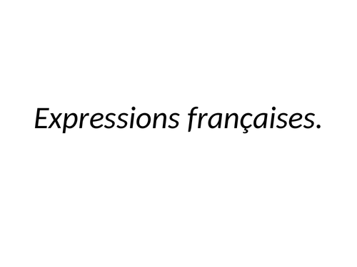 15 Expressions françaises.