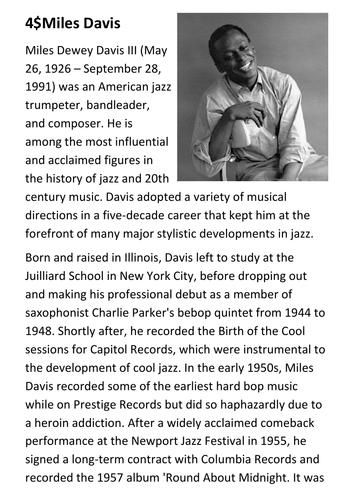 Miles Davis Handout