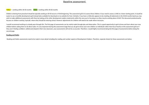 Baseline on entry assessment booklet EYFS