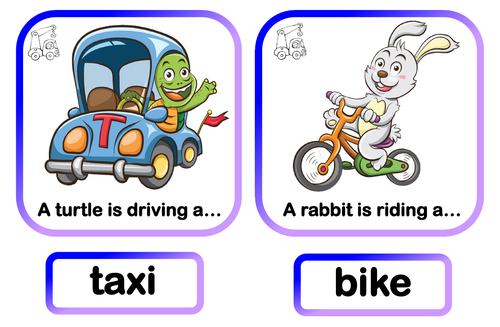 Transport and animals.  Matching game.